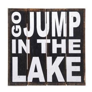 Handmade Wood Sign, 'Go Jump in The Lake' (Indonesia) - Black - N/A