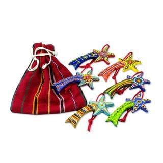 Handmade Set of 6 Ceramic Ornaments, 'Shooting Stars' (Guatemala)