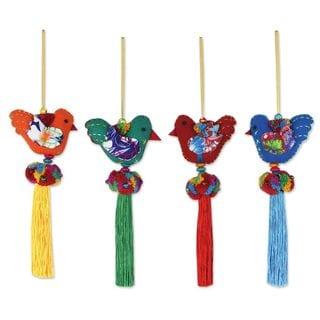 Handmade Set of 4 Cotton Ornaments, 'Happy Thai Doves' (Thailand)