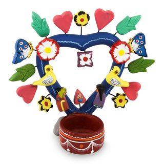 Handmade Ceramic Nativity Candleholder, 'Happiness in Quinua' (Peru)