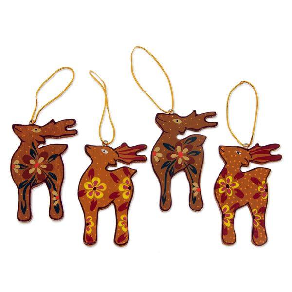 Handmade Set of 4 Wood Ornaments, 'Christmas Kijangs' (Indonesia)