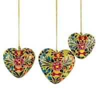 Handmade Set of 3 Papier Mache Ornaments, 'Floral Hearts' (India)