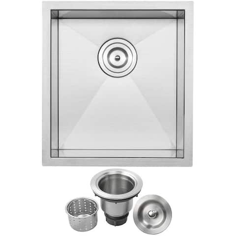 "16"" Ticor S3630 Pacific Series 16-Gauge Stainless Steel Undermount Single Basin Zero Radius Kitchen and Bar Sink"