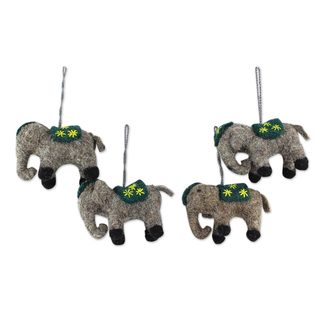 Handmade Set of 4 Wool Ornaments, 'Elephants in Green' (India)