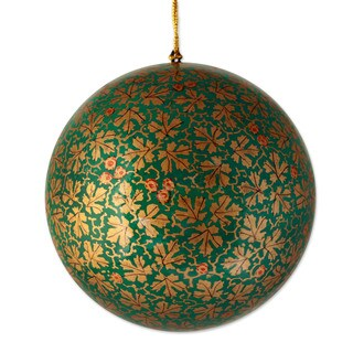 Handmade Large Papier Mache Ornament, 'Golden Chinar Cheer' (India)