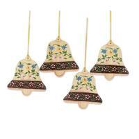 Handmade Set of 4 Wood Ornaments, 'Blossoming Bells' (India)