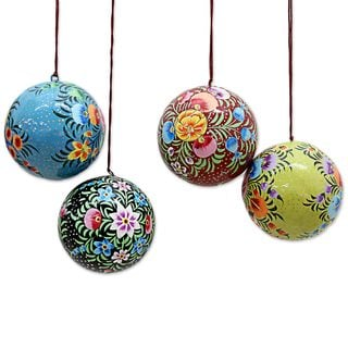 Handmade Set of 4 Papier Mache Ornaments, 'Floral Beauty' (India)