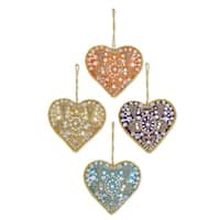 Handmade Set of 4 Beaded Ornaments, 'Colorful Hearts' (India)