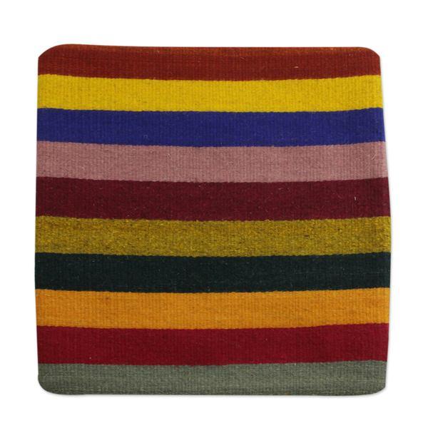 Handmade Wool Cushion Cover, 'Bright Horizons' (Mexico)