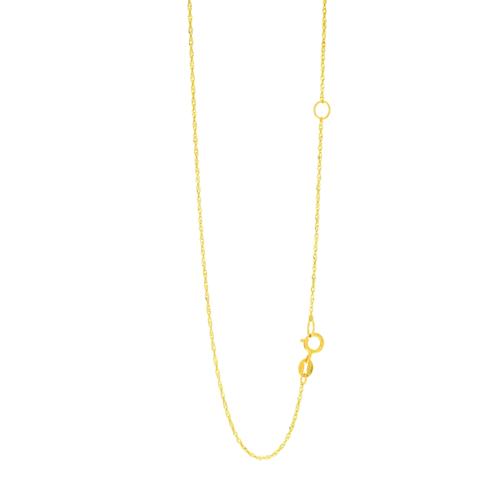 24 inch 14k Yellow Gold 1mm Singapore Chain Necklace 16 inch