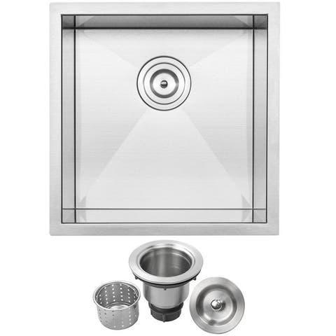 "17 1/4"" Ticor S3640 Pacific Series 16-Gauge Stainless Steel Undermount Single Basin Zero Radius Kitchen and Bar Sink"