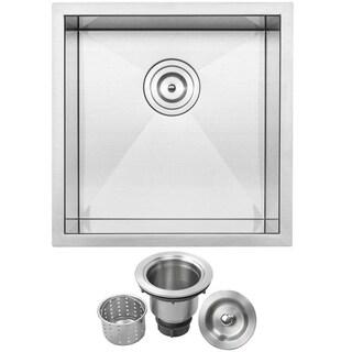 "17 1/4"" Ticor S3640 Pacific Series 16-Gauge Stainless Steel Undermount Single Basin Zero Radius Kitchen and Bar Sink"