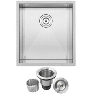 "18 1/2"" Ticor S3650 Pacific Series 16-Gauge Stainless Steel Undermount Single Basin Zero Radius Kitchen and Bar Sink"