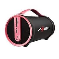 AXESS SPBT1033PK Pink Portable Indoor/Outdoor Bluetooth HiFi Cylinder 2.1 Speaker