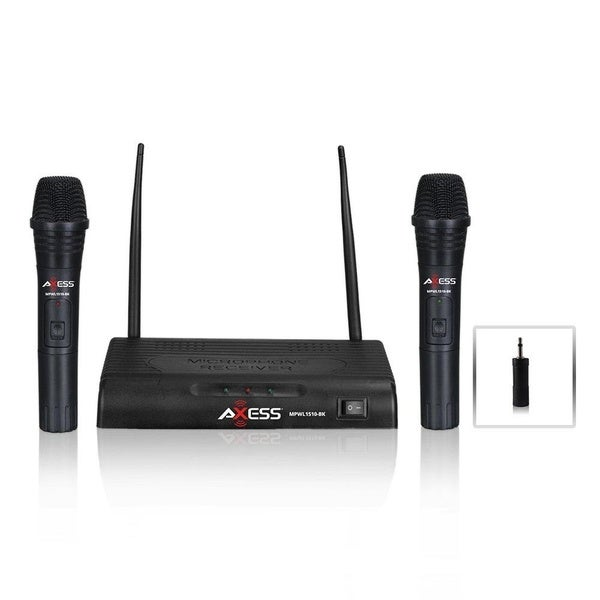 shop axess dual wireless microphone system mpwl1510 bk free shipping on orders over 45. Black Bedroom Furniture Sets. Home Design Ideas