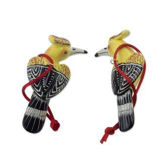 Handmade Pair of Ceramic Ornaments, 'Blonde Crested Woodpecker' (Guatemala)