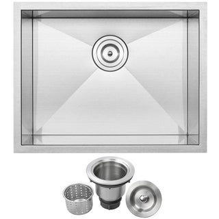 """22 1/2"""" Ticor S3660 Pacific Series 16-Gauge Stainless Steel Undermount Single Basin Zero Radius Kitchen/Laundry Sink"""