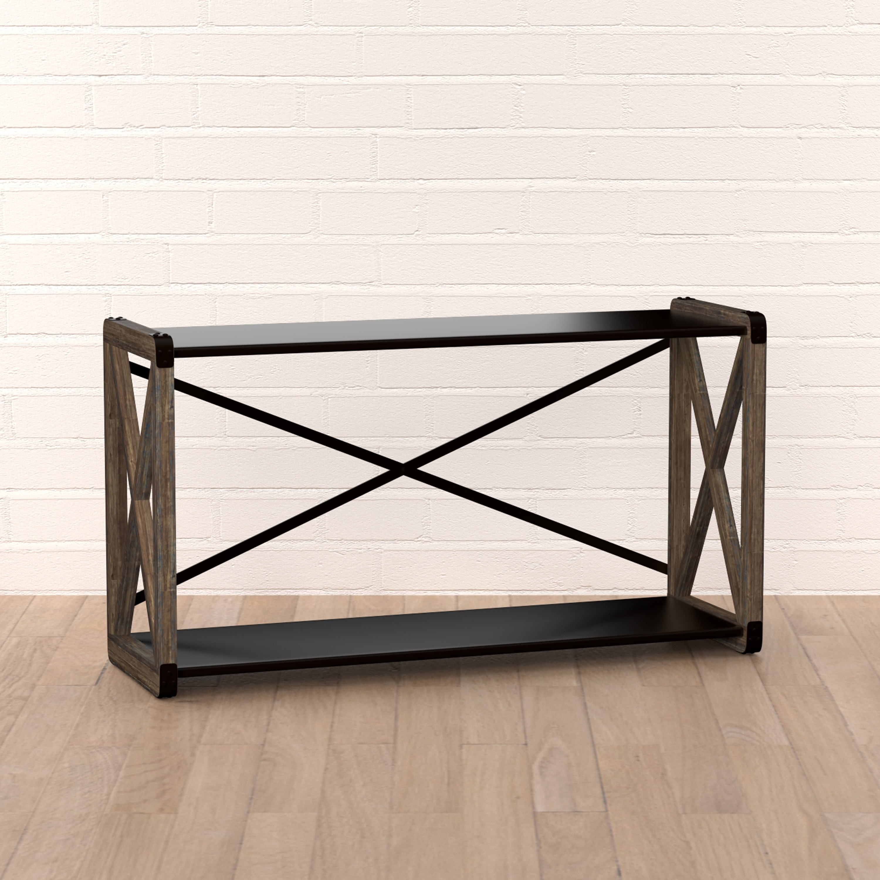 Handy Living Urbana Reclaimed Wood And Metal Sofa Table