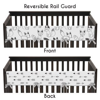 Sweet Jojo Designs Black and White Fox Collection Microfiber Long Crib Rail-guard Cover