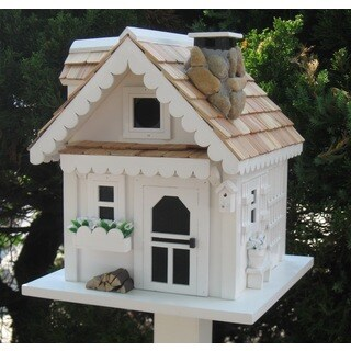 Home Bazaar Tranquility White Wood Birdhouse