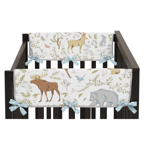 Sweet Jojo Designs Woodland Toile Collection Side Crib Rail Guard Covers (Set of 2)
