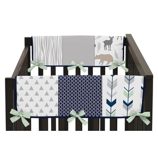 Sweet Jojo Designs Navy and Mint Woodsy Collection Side Crib Rail Guard Covers (Set of 2)