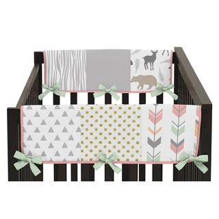 Sweet Jojo Designs Coral and Mint Woodsy Collection Side Crib Rail Guard Covers (Set of 2)