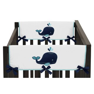 Sweet Jojo Designs Whale Collection Side Crib Rail Guard Covers (Set of 2)