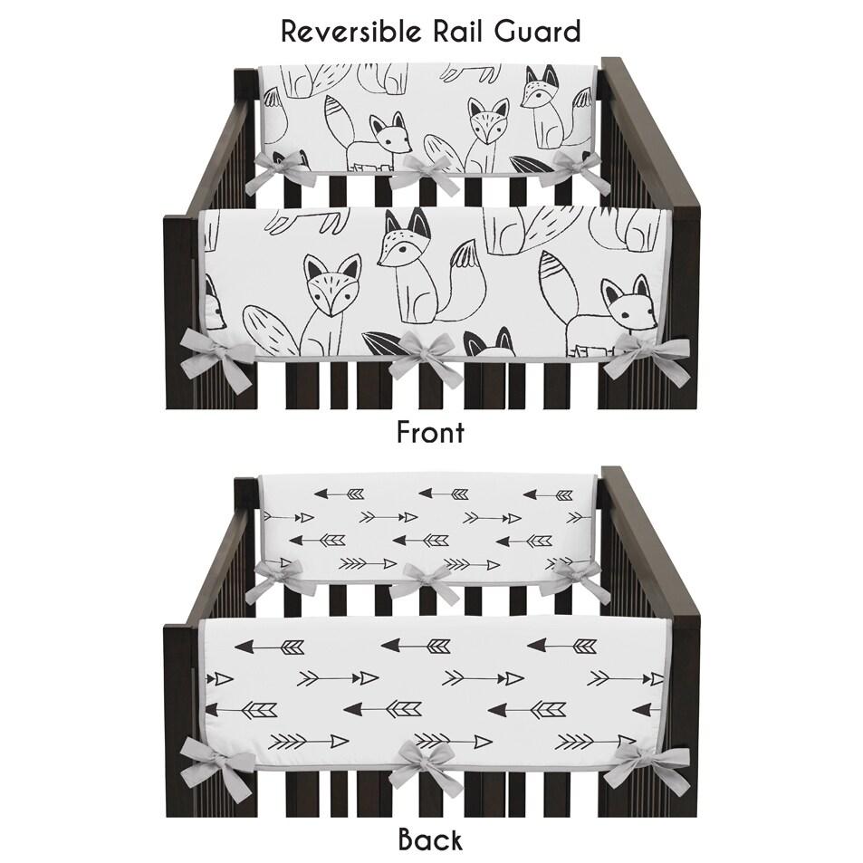 JoJo Designs Black and White Fox Collection Side Crib Rai...