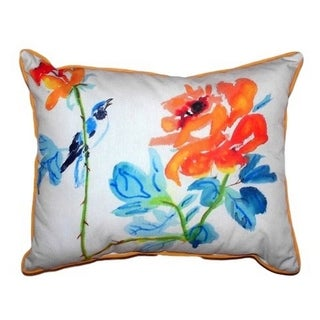 Bird and Roses Large Indoor/ Outdoor Throw Pillow