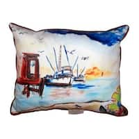 Dock and Shrimp Boat Large Indoor/ Outdoor Throw Pillow