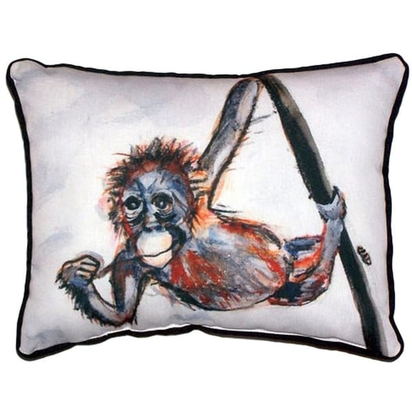 Shop Betsy S Monkey Large Indoor Outdoor Throw Pillow On Sale
