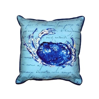 Blue Script Crab Large Indoor/ Outdoor Throw Pillow
