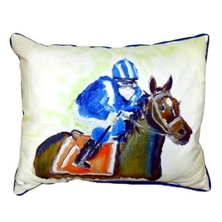 Horse and Jockey Large Indoor/ Outdoor Throw Pillow