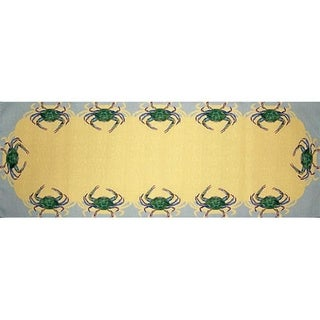 Betsy Drake Blue Crab Multicolored 13-inch x 54-inch Table Runner