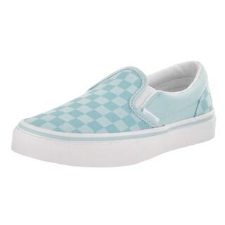 Vans Kids' Classic Slipon Tonal Check Blue Canvas Skate Shoes