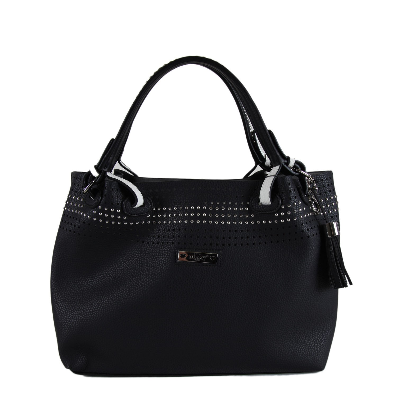 Nikky Starr Black Satchel Handbag (Black), Women's (leather)