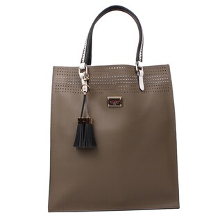 Nikky Starr Taupe Faux Leather Tote Bag