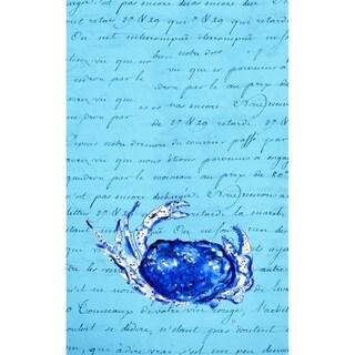Betsy Drake Blue Script Crab Kitchen Towel