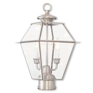 Livex Lighting Westover Brushed Nickel Brass 3-light Outdoor Lantern - Silver