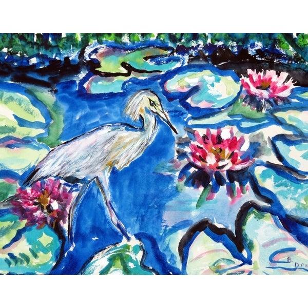 Heron and Waterlilies Door Mat
