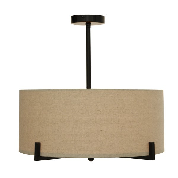 Decor Therapy Steel Frame Linen Drum Shade Chandelier