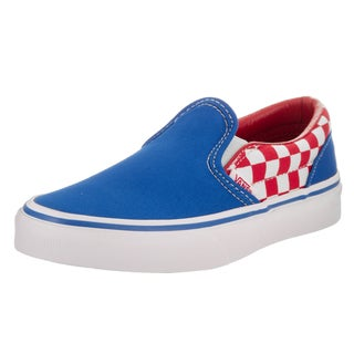 Vans Kids Classic Slip-On (Checkerboard) Red Canvas Skate Shoes