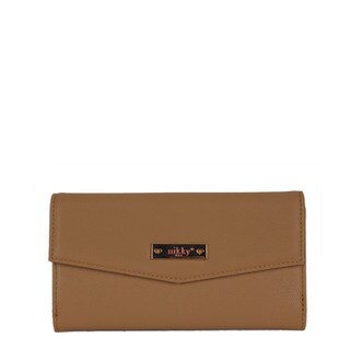 Nikky Keana Camel Brown Faux Leather Clutch Wallet