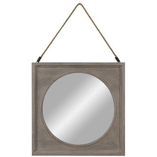 Wood 22 x 22-inch Rustic with Rope Hanger Mirror