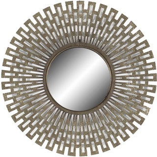 Champagne Round Geometric Sunburst Mirror - Gold