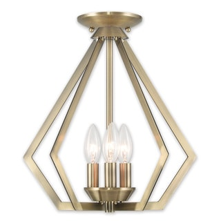 Livex Lighting Prism 3-light Antique Brass Finish Steel Pendant