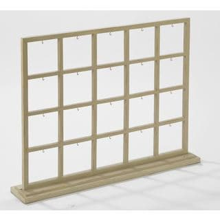 Cream-colored 20-section Divided Grid-style Window Display with Hooks