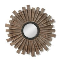 Starburst Style Brown Wooden Multi Dimensional Mirror - Natural
