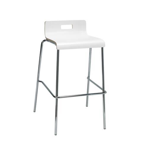 KFI Jive White Low-back Barstool